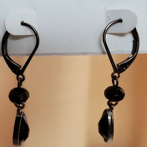 LOFT Black Bead Dangle Earrings #495